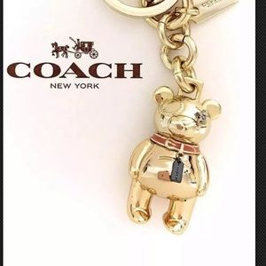 COACH Gold Bear Keychain Metal Purse Charm